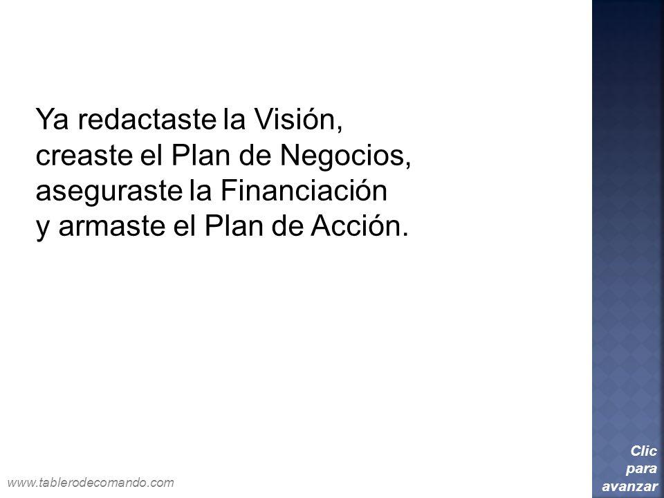 Ya redactaste la Visión, creaste el Plan de Negocios,