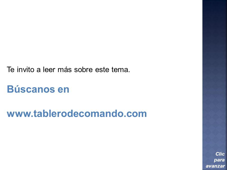 Búscanos en www.tablerodecomando.com