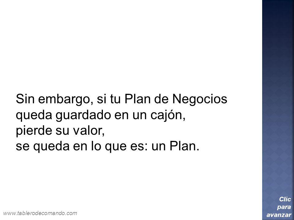Sin embargo, si tu Plan de Negocios queda guardado en un cajón,