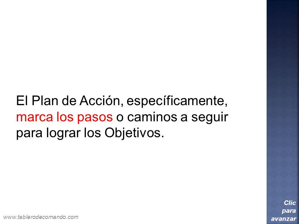 El Plan de Acción, específicamente, marca los pasos o caminos a seguir
