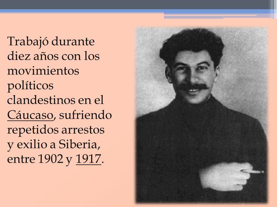 Trabajó durante diez años con los movimientos políticos clandestinos en el Cáucaso, sufriendo repetidos arrestos y exilio a Siberia, entre 1902 y 1917.