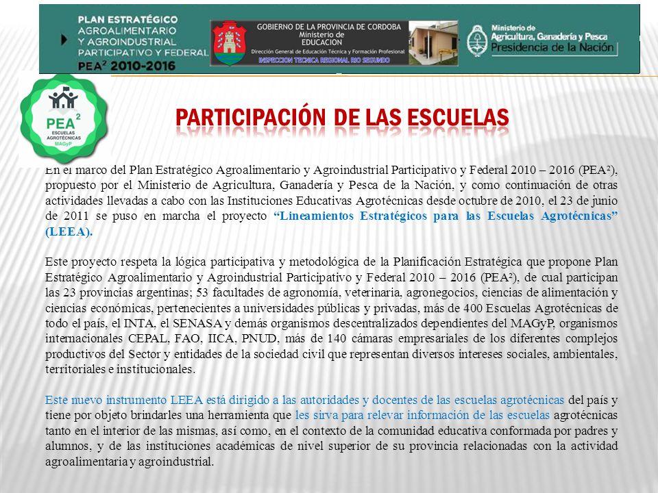 PARTICIPACIÓN DE LAS ESCUELAS