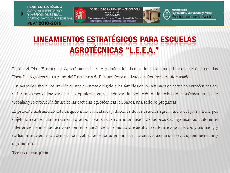Lineamientos Estratégicos para Escuelas Agrotécnicas l.e.e.a.