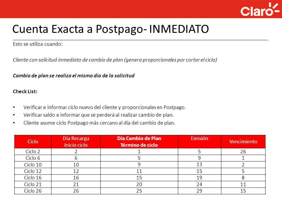 Cuenta Exacta a Postpago- INMEDIATO
