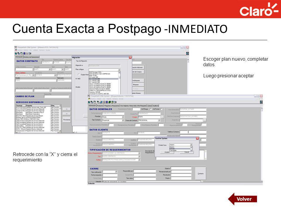 Cuenta Exacta a Postpago -INMEDIATO