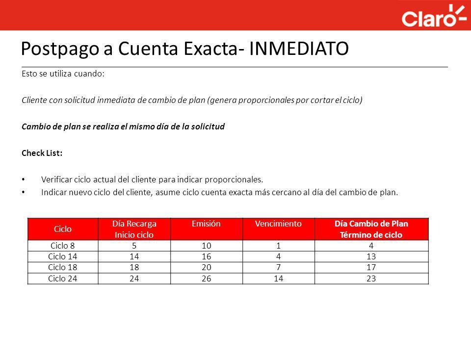 Postpago a Cuenta Exacta- INMEDIATO