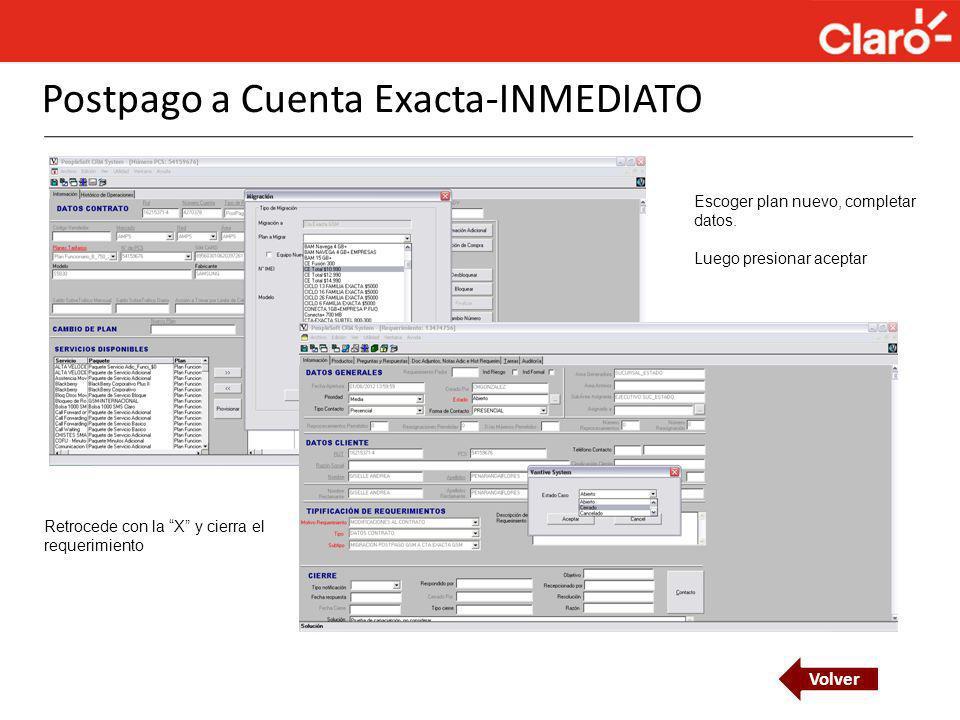 Postpago a Cuenta Exacta-INMEDIATO
