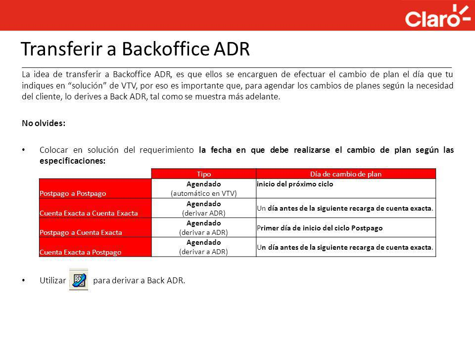 Transferir a Backoffice ADR