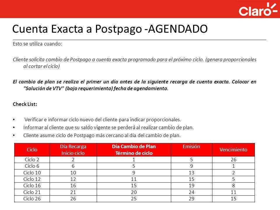 Cuenta Exacta a Postpago -AGENDADO