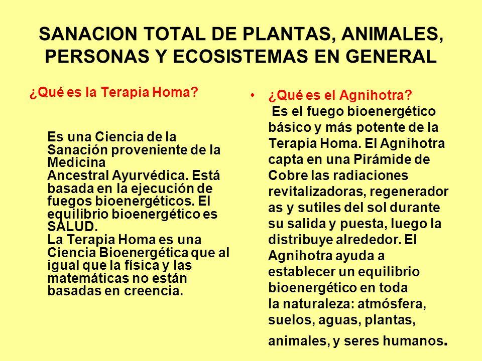SANACION TOTAL DE PLANTAS, ANIMALES, PERSONAS Y ECOSISTEMAS EN GENERAL
