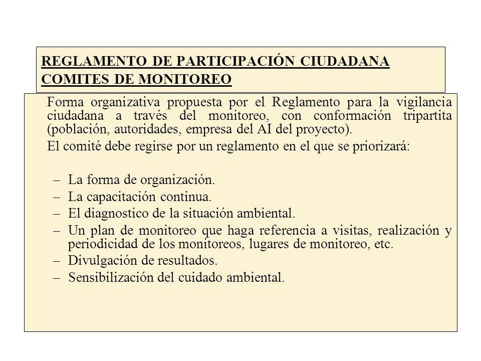 REGLAMENTO DE PARTICIPACIÓN CIUDADANA COMITES DE MONITOREO