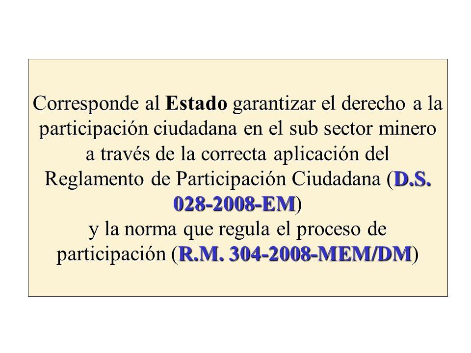 Corresponde al Estado garantizar el derecho a la participación ciudadana en el sub sector minero a través de la correcta aplicación del Reglamento de Participación Ciudadana (D.S.