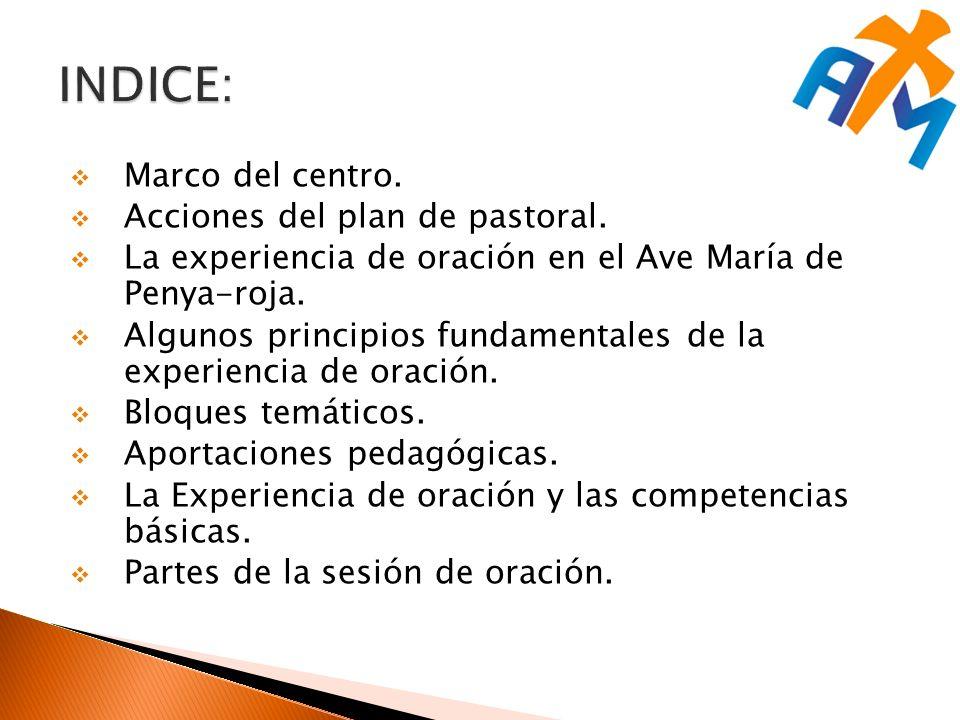 INDICE: Marco del centro. Acciones del plan de pastoral.