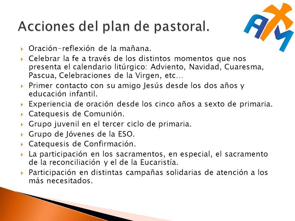 Acciones del plan de pastoral.