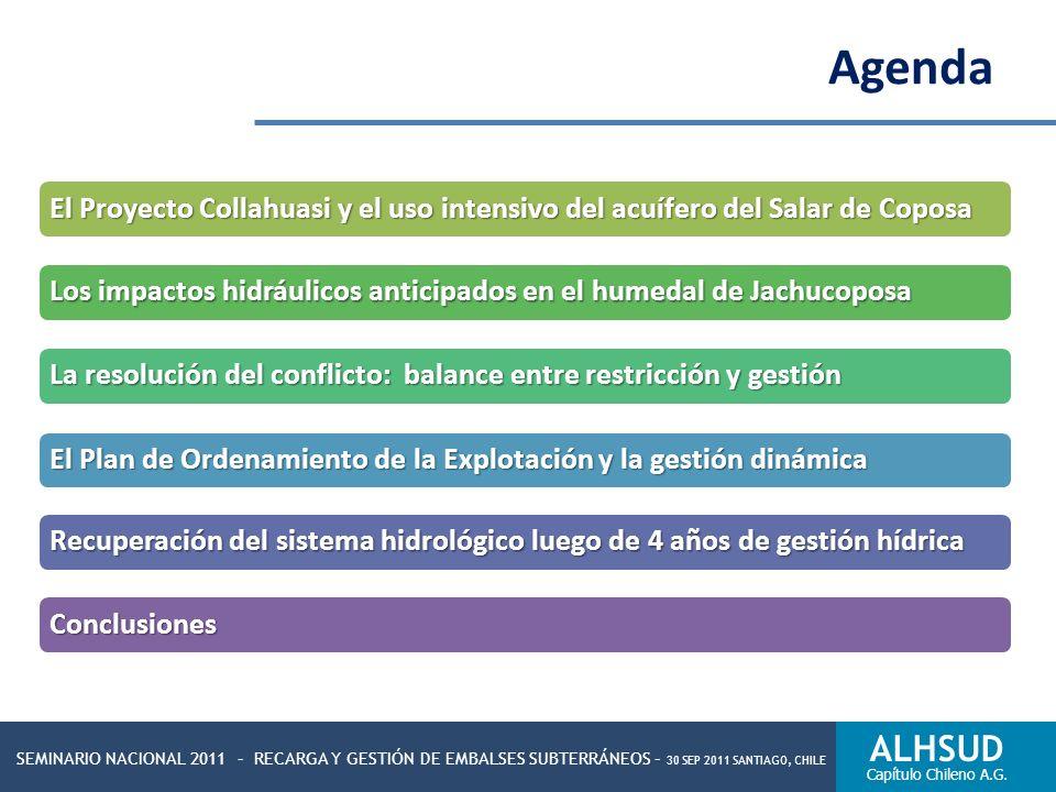 Agenda El Proyecto Collahuasi y el uso intensivo del acuífero del Salar de Coposa. Los impactos hidráulicos anticipados en el humedal de Jachucoposa.
