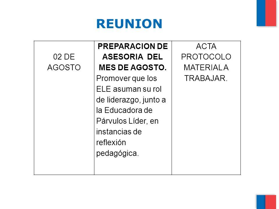 PREPARACION DE ASESORIA DEL MES DE AGOSTO.
