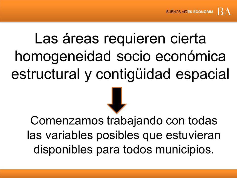 Las áreas requieren cierta homogeneidad socio económica estructural y contigüidad espacial