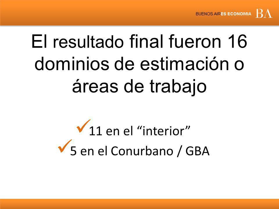 El resultado final fueron 16 dominios de estimación o áreas de trabajo
