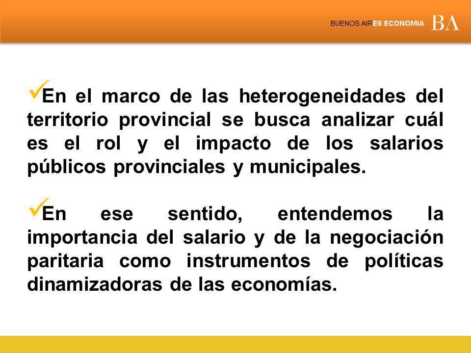 En el marco de las heterogeneidades del territorio provincial se busca analizar cuál es el rol y el impacto de los salarios públicos provinciales y municipales.
