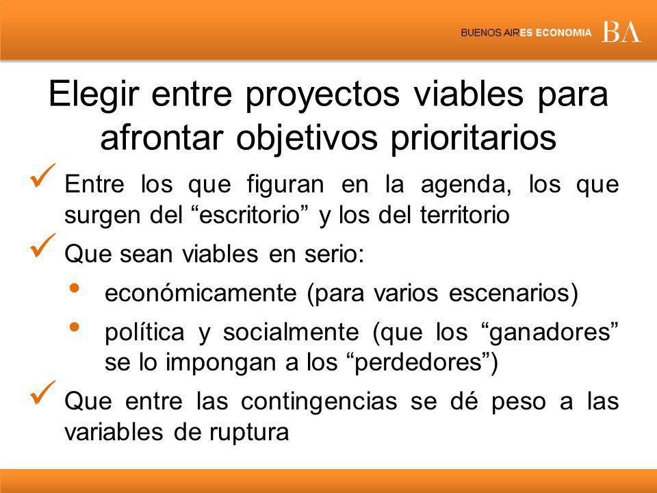 Elegir entre proyectos viables para afrontar objetivos prioritarios