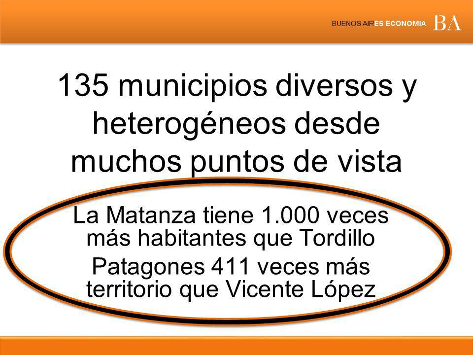 135 municipios diversos y heterogéneos desde muchos puntos de vista