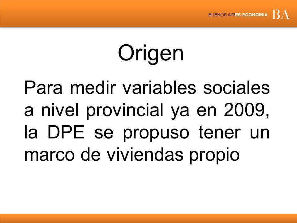 Origen Para medir variables sociales a nivel provincial ya en 2009, la DPE se propuso tener un marco de viviendas propio.