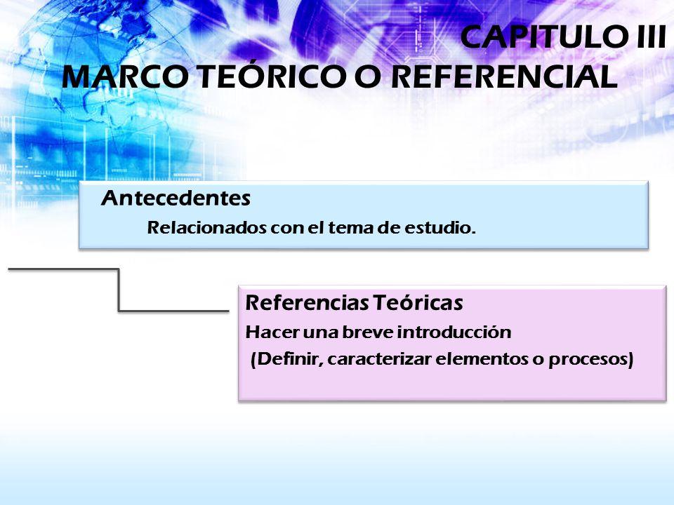 CAPITULO III MARCO TEÓRICO O REFERENCIAL