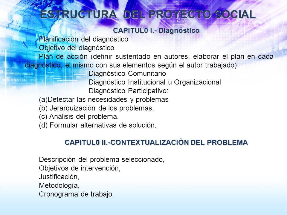 ESTRUCTURA DEL PROYECTO SOCIAL