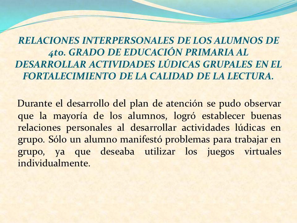 RELACIONES INTERPERSONALES DE LOS ALUMNOS DE 4to
