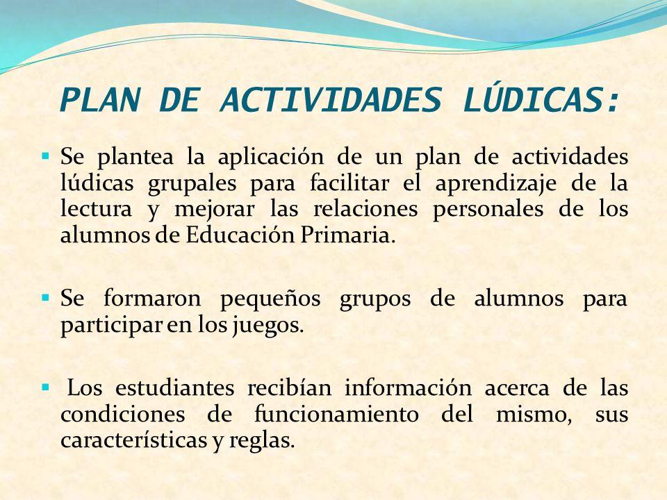 PLAN DE ACTIVIDADES LÚDICAS: