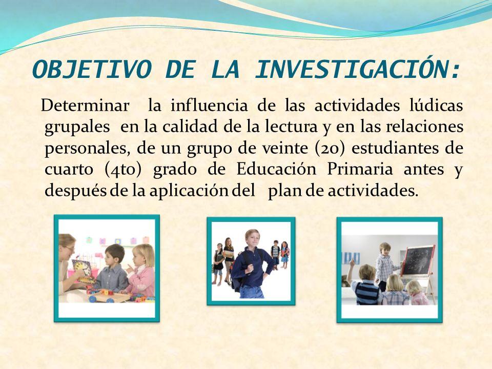 OBJETIVO DE LA INVESTIGACIÓN: