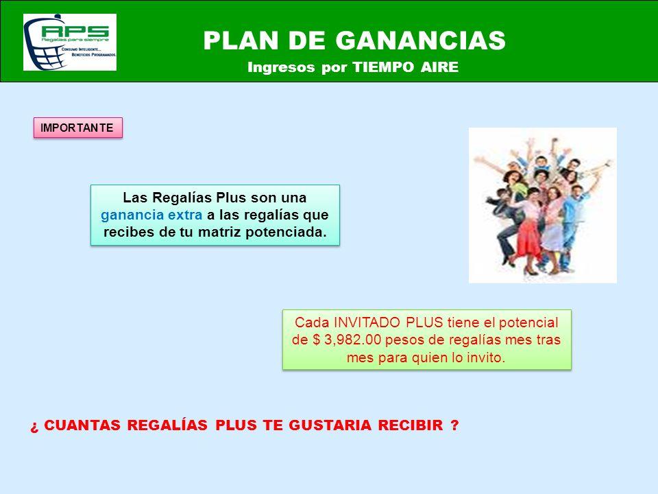 PLAN DE GANANCIAS Ingresos por TIEMPO AIRE