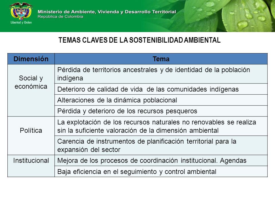 TEMAS CLAVES DE LA SOSTENIBILIDAD AMBIENTAL