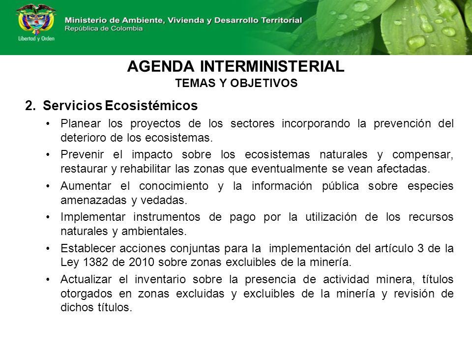 AGENDA INTERMINISTERIAL TEMAS Y OBJETIVOS