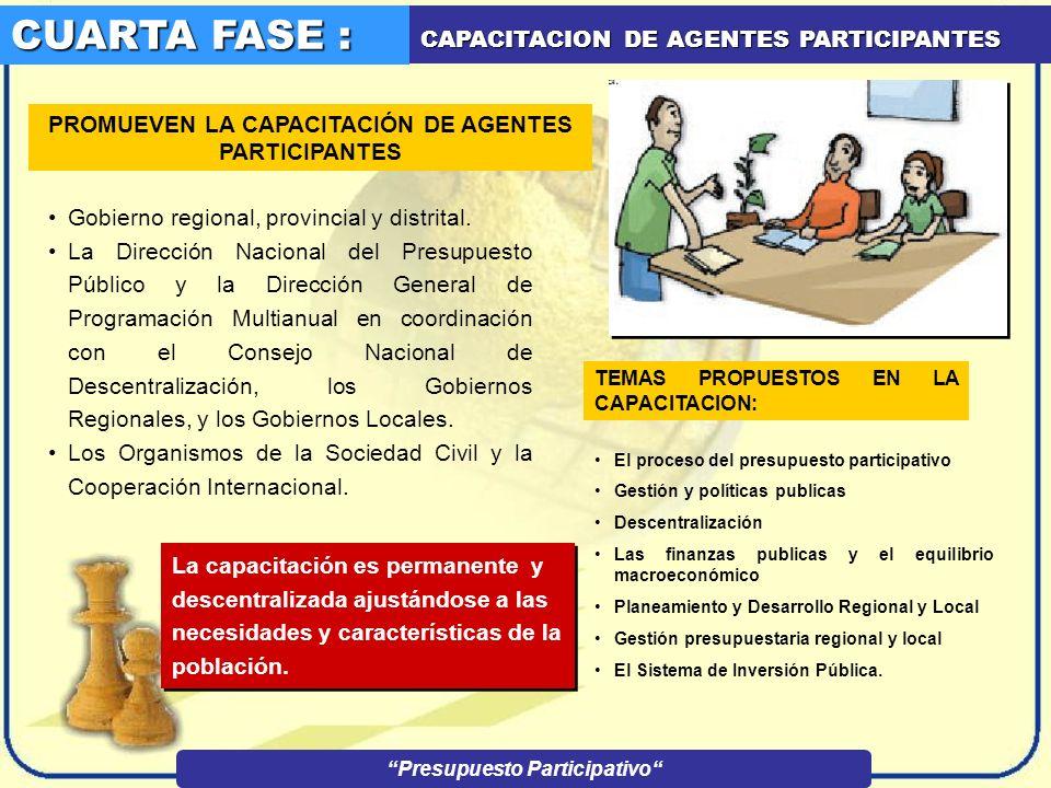 CUARTA FASE : CAPACITACION DE AGENTES PARTICIPANTES