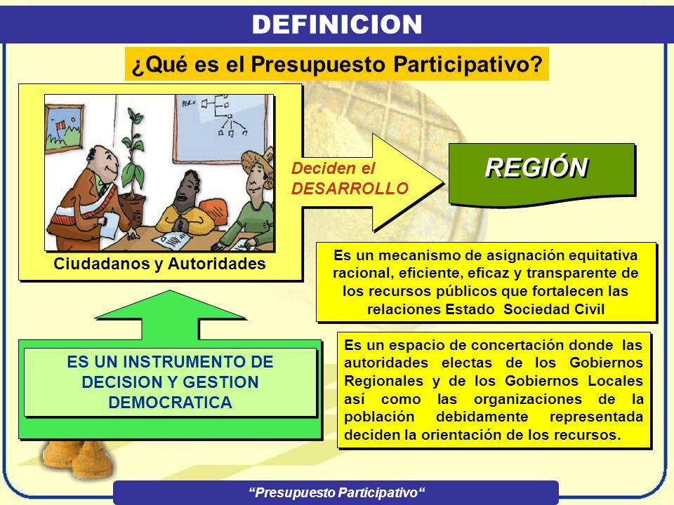 DEFINICION REGIÓN ¿Qué es el Presupuesto Participativo Deciden el