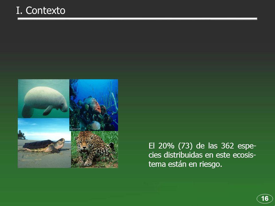 I. Contexto El 20% (73) de las 362 espe-cies distribuidas en este ecosis-tema están en riesgo. 16