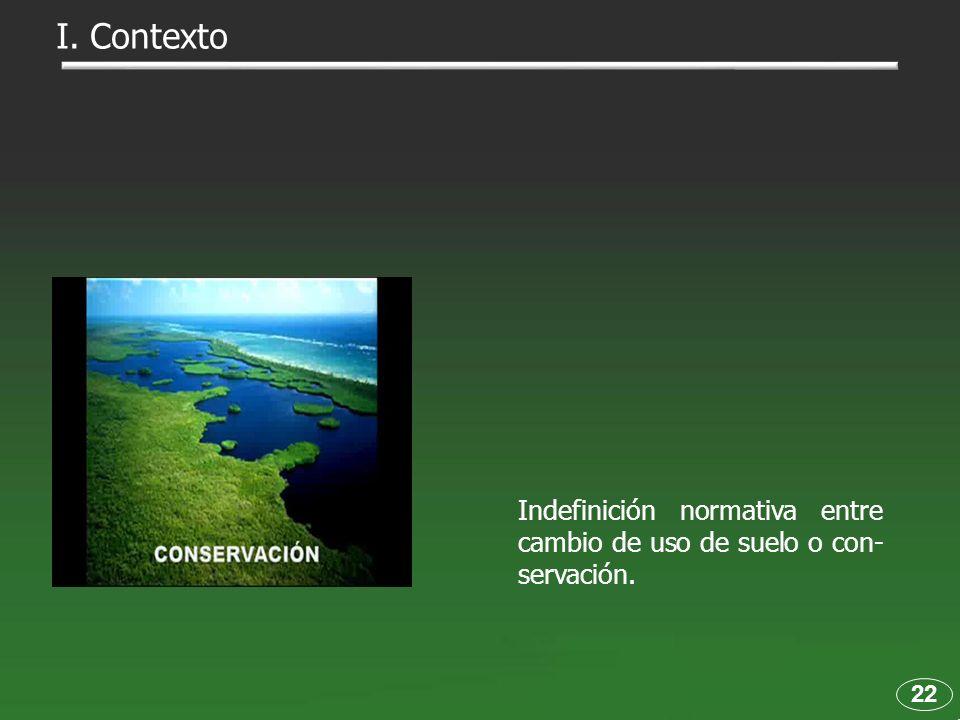I. Contexto Indefinición normativa entre cambio de uso de suelo o con-servación. 22