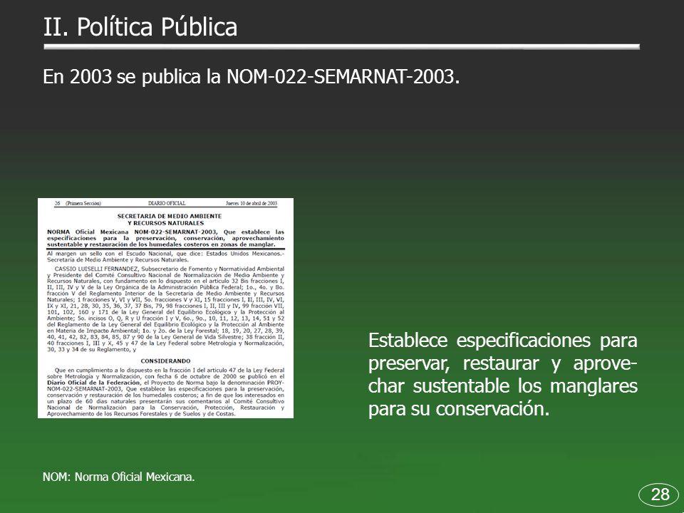 II. Política Pública En 2003 se publica la NOM-022-SEMARNAT-2003.