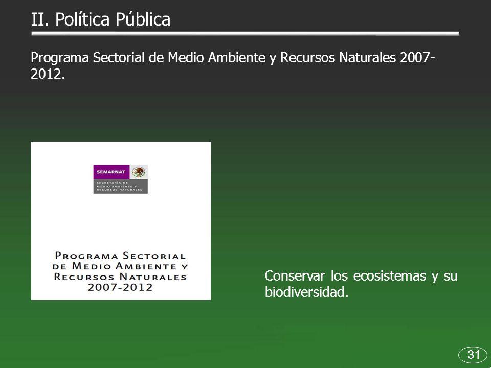 II. Política Pública Programa Sectorial de Medio Ambiente y Recursos Naturales 2007-2012. Conservar los ecosistemas y su biodiversidad.