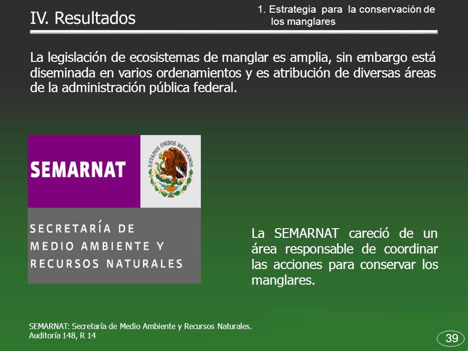 1. Estrategia para la conservación de los manglares