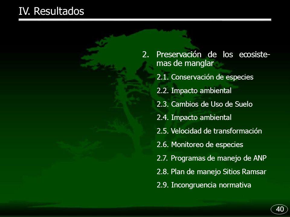 IV. Resultados Preservación de los ecosiste- mas de manglar