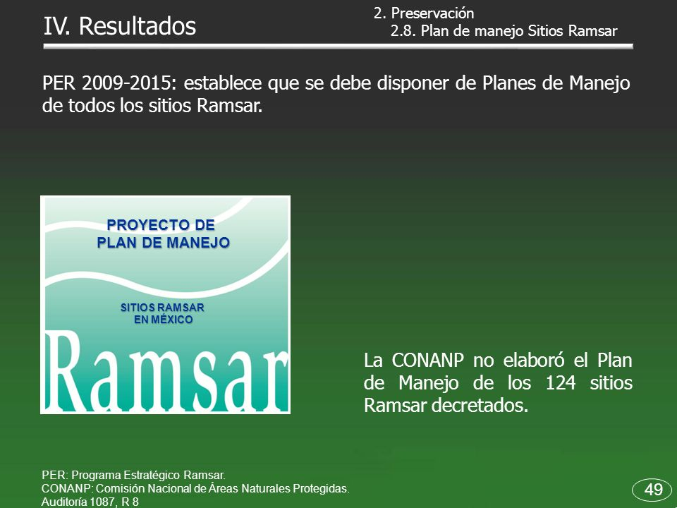 2. Preservación IV. Resultados. 2.8. Plan de manejo Sitios Ramsar.