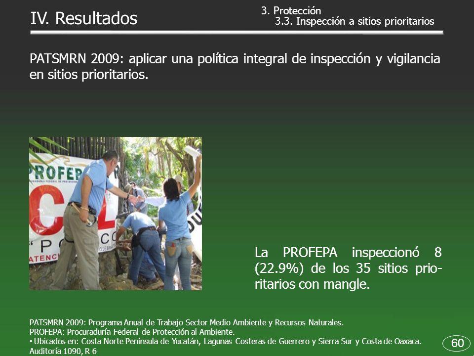 3. Protección IV. Resultados. 3.3. Inspección a sitios prioritarios.