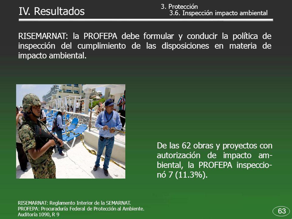 3. Protección IV. Resultados. 3.6. Inspección impacto ambiental.