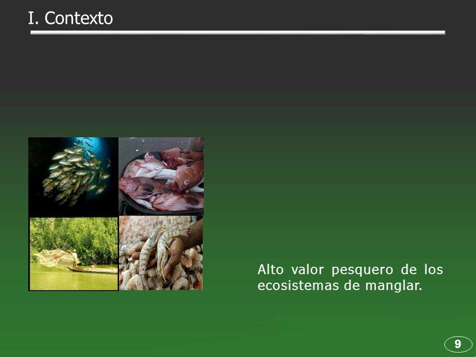 I. Contexto Alto valor pesquero de los ecosistemas de manglar. 9