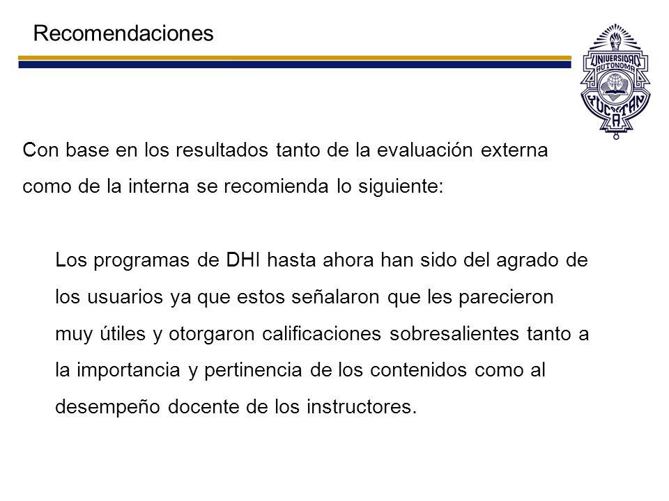 Recomendaciones Con base en los resultados tanto de la evaluación externa como de la interna se recomienda lo siguiente: