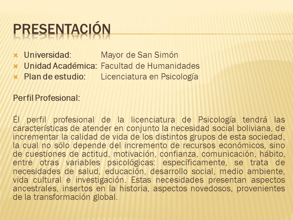PRESENTACIÓN Universidad: Mayor de San Simón