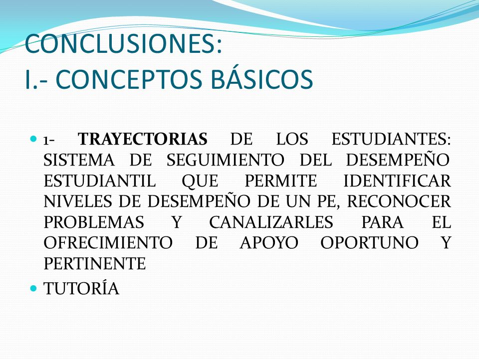 CONCLUSIONES: I.- CONCEPTOS BÁSICOS
