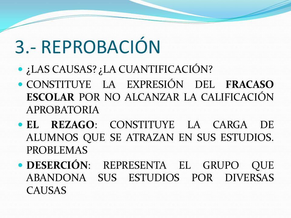 3.- REPROBACIÓN ¿LAS CAUSAS ¿LA CUANTIFICACIÓN